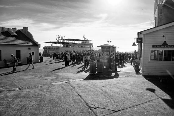Passengers disembark ferry Alcatraz Landing