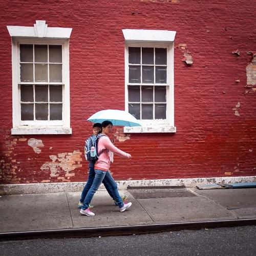 Chinatown NYC red brick wall