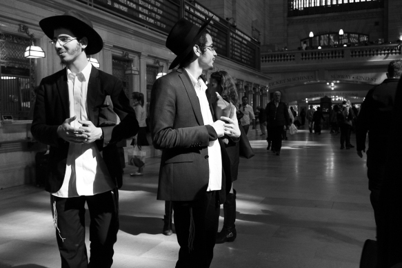 Two Hassidic young men Grand Central Station