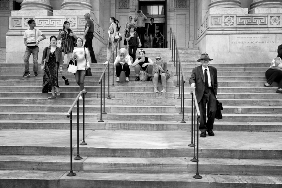 NYC Public Library visitors front steps
