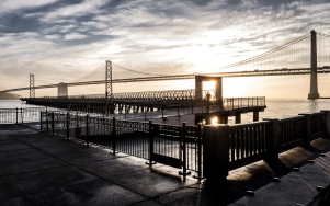 Dawn Oakland Bay Bridge and Pier 14 San Francisco