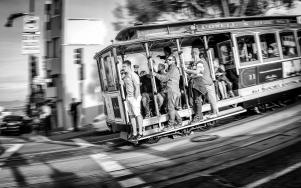 San Francisco cable car motion blur