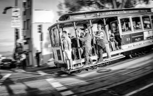 San Francisco cable car motion blur