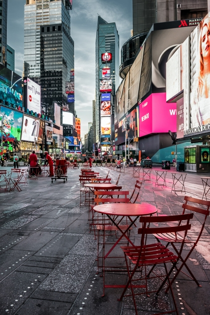 Times Square red tables dawn
