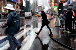 NYC rain scene