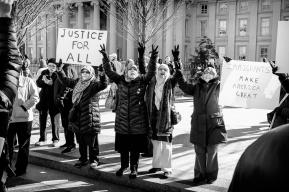 Muslim Protestors No Ban No Wall DC Protest