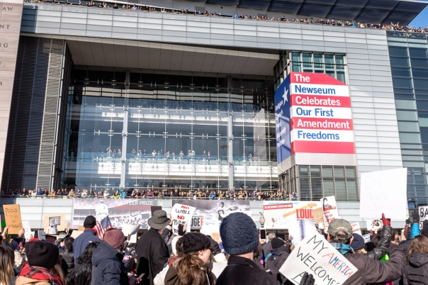 Protestors Newseum No Ban No Wall DC Protest
