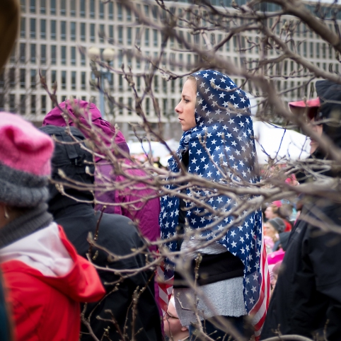 Woman Wearing American Flag hijab Women's March DC