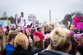Scene Women's March DC Washington Monument